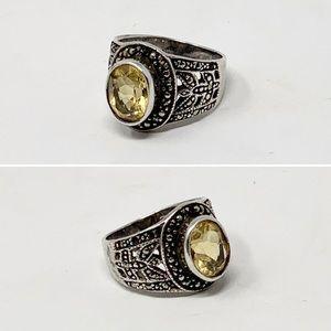 VTG Art Deco Citrine Sterling Silver Ring